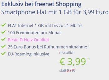 D-Netz: Flat mit 100 Freiminuten und 1 GByte für 3,99 Euro