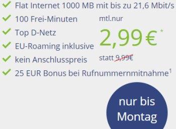D-Netz-Flat: 1000 MByte und 100 Freiminuten für 2,99 Euro im Monat