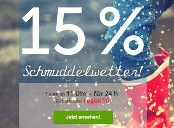 Dailydeal: 15 Prozent Schmuddelwetter-Rabatt bis Donnerstag mittag