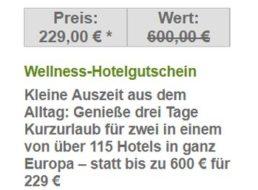 Dailydeal: Wellness-Hotelgutschein für 229 Euro, einlösbar bis 2019