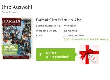 """Gratis: Jahresabo """"Damals"""" mit 2,20 Euro Gewinn"""