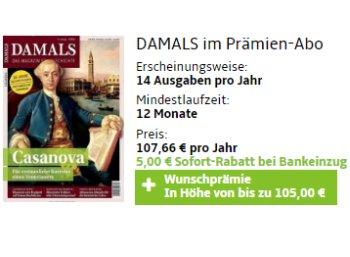 Damals: Jahresabo für 102,66 Euro mit Prämie über 105 Euro
