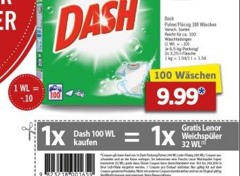 Gratis: Lenor-Packung zur Dash-Packung für 9,99 Euro