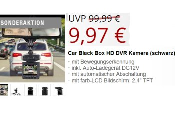 Druckerzubehoer.de: Dashcam mit Bewegungserkennung für 15,94 Euro frei Haus