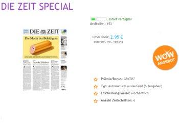 """Knaller: Sechsmal """"Die Zeit"""" für 2,95 Euro mit automatischem Ende"""