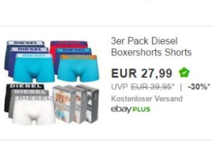 Diesel: Dreierpack Boxershorts für 27,99 Euro frei Haus