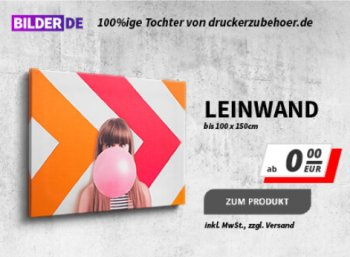 Druckerzubehoer.de: Leinwände und Poster ab 0 Euro plus Versand