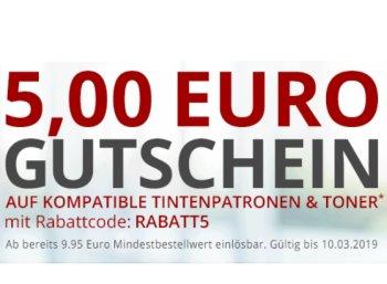 Druckerzubehoer.de: 5 Euro Rabatt ab 9,95 Euro Warenwert auf Tinte und Toner