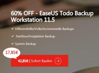 Ease US: Backup-Software jetzt für 17,85 statt 42,85 Euro