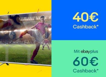 Ebay: 40 bis 60 Euro Cashback beim Kauf von TV- und Audio-Artikeln