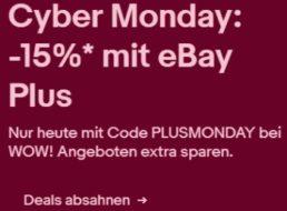 Ebay: 15 Prozent Rabatt auf Wow-Angebote mit Plus-Gutschein