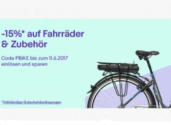 Ebay: 15 Prozent Rabatt auf Fahrräder und Zubehör bis Sonntag