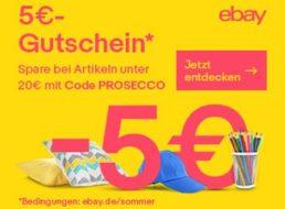 Ebay: Fünf Euro Rabatt auf ausgewählte Artikel unter 20 Euro