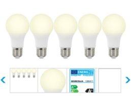Ebay: Fünferpack LED-Leuchten mit E27er-Sockel für 12,99 Euro frei Haus