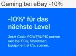 Ebay: Zehn Prozent Rabatt auf ausgewählte Gaming-Artikel