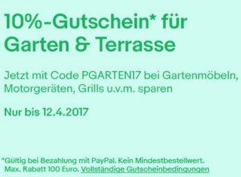 Ebay: Zehn Prozent Rabatt auf Garten & Grillartikel für wenige Tage