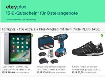 Ebay: 15 Euro Rabatt ab 50 Euro Warenwert für Plus-Kunden