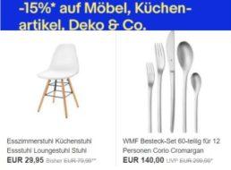 Ebay: 15 Prozent Rabatt auf Möbel, Küchenartikel und Deko