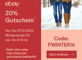 Ebay: 20 Prozent Wintermode-Rabatt mit Top-Marken wie Hugo Boss