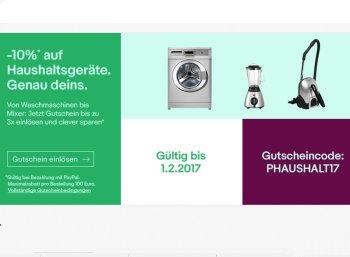 Ebay: Zehn Prozent Rabatt auf Haushaltsgeräte bis zum 1. Februar