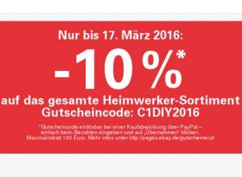 Ebay: 10 Prozent Heimwerker-Rabatt bis Donnerstag abend