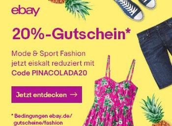 Ebay: 20 Prozent Gutschein für Mode, Sport- und Beautyartikel