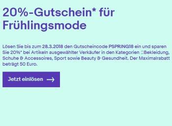 Ebay: 20 Prozent Rabatt auf Mode, Sport und mehr