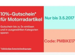 Ebay: Motorradartikel mit zehn Prozent Rabatt bis Mittwoch