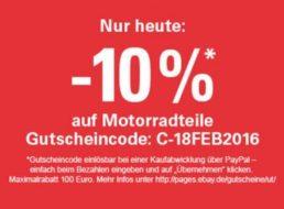 Ebay: Zehn Prozent Rabatt auf Motorradteile für einen Tag