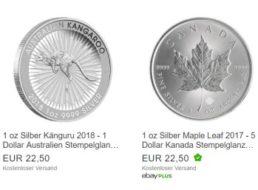 Ebay: Silber- und Goldmünzen ab 22,50 Euro frei Haus