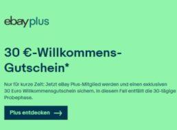 Gratis: Ebay-Gutschein über 30 Euro für Plus-Mitgliedschaft (19,90 Euro)