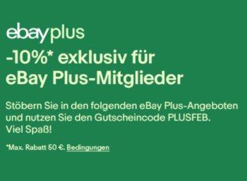 Ebay: 10 Prozent Rabatt auf Plus-Artikel bis Sonntag abend