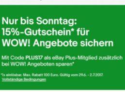 Ebay: 15 Prozent Rabatt bis Sonntag für Plus-Nutzer