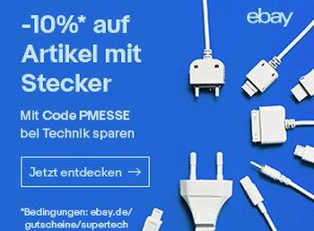Ebay: 10 Prozent Rabatt auf alle Artikel mit Stecker