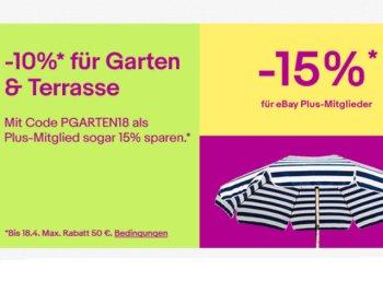 Ebay: 15 Prozent Garten-Rabatt für Plus-Mitglieder, 10 Prozent für alle anderen