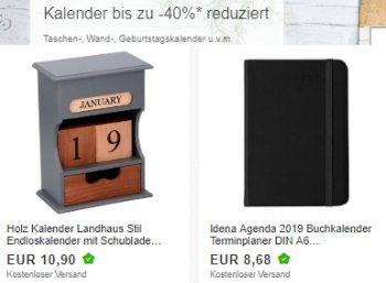 Ebay: Kalender 2019 und 2020 mit bis zu 42 Prozent Rabatt