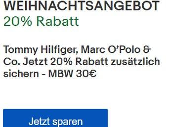 Ebay: 20 Prozent Rabatt auf s.Oliver, Tommy Hilfiger und andere