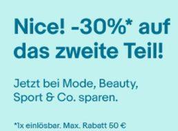 Ebay: 30 Prozent Mode-Rabatt auf das zweite Teil