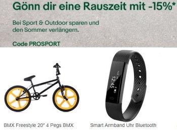Ebay: 15 Prozent Rabatt auf Sport- und Outdoor-Artikel
