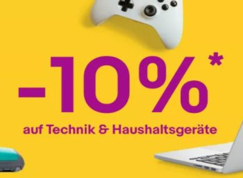 Ebay: 10 Prozent Rabatt auf ausgewählte Technikartikel bis Samstag morgen