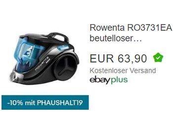 Ebay: Beutelloser Staubsauger Rowenta RO3731EA als B-Ware für 57,51 Euro