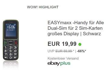 Ebay: Seniorenhandy mit SOS-Taste und zwei SIM-Slots für 19,99 Euro