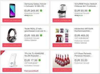 Ebay: 20 Prozent Rabatt auf ausgewählte reduzierte Produkte