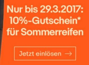 Ebay: Zehn Prozent Rabatt auf Sommerreifen bis zum 29. März