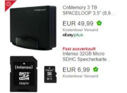 Ebay: 3-TByte-Festplatte, Speicherkarten und Smartwatch zu Schnäppchenpreisen