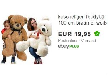 Ebay: Riesenteddy mit 100 cm Größe für 19,95 Euro frei Haus