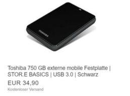 Ebay: Externe Festplatte von Toshiba mit 750 GByte als B-Ware für 34,90 Euro