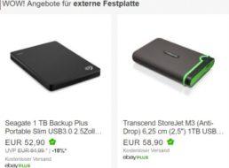 Ebay: Zwei externe Festplatten dank Gutschein zu Knallerpreisen