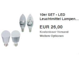 Ebay: Zehnerpack langlebige LED-Birnen für 26 Euro frei Haus