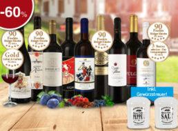 Ebrosia: Rotweinselektion mit Keramik-Gewürzstreuern für 39,99 Euro